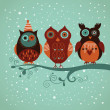 Stock Vector: Winter owls