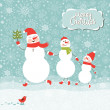 Family of snowmen, greeting Christmas card — Stock Vector