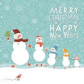 Familj med snögubbar, gratulationskort julkort — Stockvektor