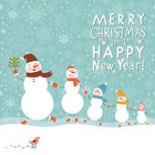 Family of snowmen, greeting Christmas card — 图库矢量图片