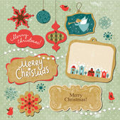 набор элементов, vintage рождество и новый год — Cтоковый вектор