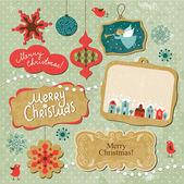 Conjunto de elementos vintage de navidad y año nuevo — Vector de stock