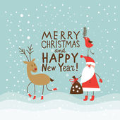 Greeting Christmas and New Year card — Stockvector