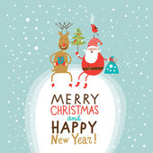 Christmas and New Year Greeting card, Santa Claus with gifts bag and Christmas tree and funny Deer — Stock Vector