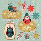 クリスマスと新年の要素のセット — ストックベクタ