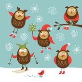 Set of vector cute owls — Stock Vector