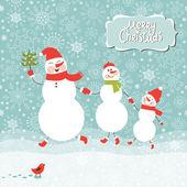 Family of snowmen, greeting Christmas card — Stock Vector