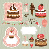 Birthday, holiday set, cute cakes — Stock Vector