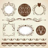 Satz von Frames, dekorative Gestaltungselemente — Stockvektor