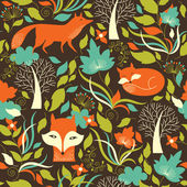 Seamless pattern with a fox — Stock Vector