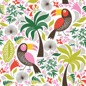 Seamless floral background with birds — Stockvektor