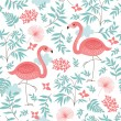 Seamless pattern with a pink flamingo — Stock Vector #28520841