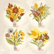 Stock Vector: Set of an autumnal bouquets