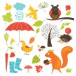 Set of cartoon characters and autumn elements — Stock Vector #28520861