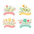 Set of floral bouquets , romantic composition, vector collection — Stock Vector