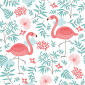 Seamless pattern with a pink flamingo — Stockvektor