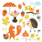 Set of cartoon characters and autumn elements — Stock Vector