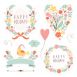 Banners, floral frames and graphic elements — Stock Vector