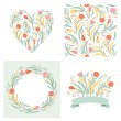 Set of floral graphic elements for invitation cards — Stock Vector