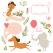 Set of animals illustrations and graphic elements for invitation cards — Stock Vector #31988075