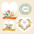 Set of graphic elements for invitation cards — Stock Vector