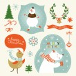 Set of Christmas and New Year's graphic elements — Stockvectorbeeld