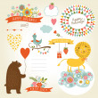 Set of animals illustrations and graphic elements for invitation cards — Stock Vector #31988157