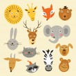 Vector illustration of animal faces — Stock Vector