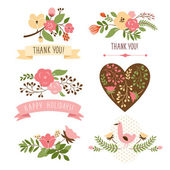 Floral banners for life events, vector collection — Wektor stockowy