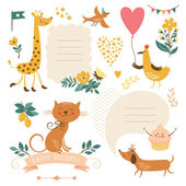 Set of animals illustrations and graphic elements for invitation cards — Stock Vector