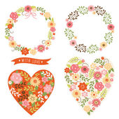 Set of floral frames and heart with flowers — Stock Vector
