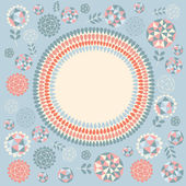 Floral round frame — Stock Vector