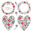 Stock Vector: Set of floral frames and heart with flowers