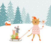 Cute kitty carries the sledge with gifts and little mouse — Stock Vector
