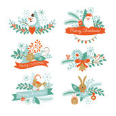 Set of Christmas and New Year graphic elements — Stockvektor