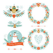 Set of Christmas wreaths, frames ,holiday symbols — Stock Vector
