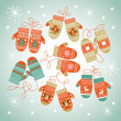 Knitted mittens Christmas background — Stock Vector