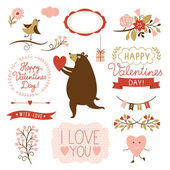 Valentine's day graphic elements, vector collection — Vector de stock