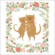 Cartoon cats , flowers frame, greeting card — Stock Vector