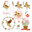 Cute birds, holiday graphic elements, vector collection — Vector de stock