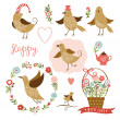 Cute birds, holiday graphic elements, vector collection — Stock vektor