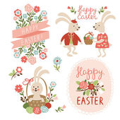 Happy easter cards illustration with easter eggs — Stock Vector