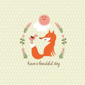 Cute a fox and a bird — Stock Vector