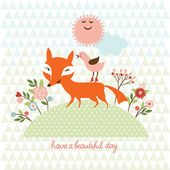 Cute fox — Stock Vector