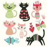 Set of cartoon cute cats — Stock Vector #7987236