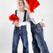 Portrait of little boys and girls in the studio in a Christmas s — Stock Photo