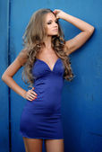 Beautiful fashion model in a blue dress — Stock Photo