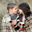 Portrait of boy and girl with plaid — Stock Photo #14824123