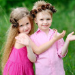 Portrait of little boys and girls outdoors in summer — Stock Photo #14824137
