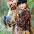 Portrait of little girl outdoors in autumn — Stock Photo #14868617